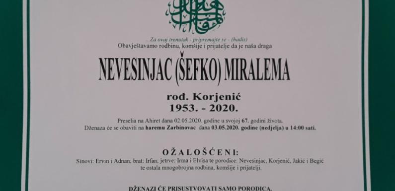 R, Miralema Nevesinjac, osmrtnica