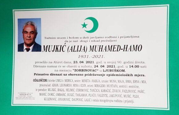 R. Hamo Mujkić, osmrtnica
