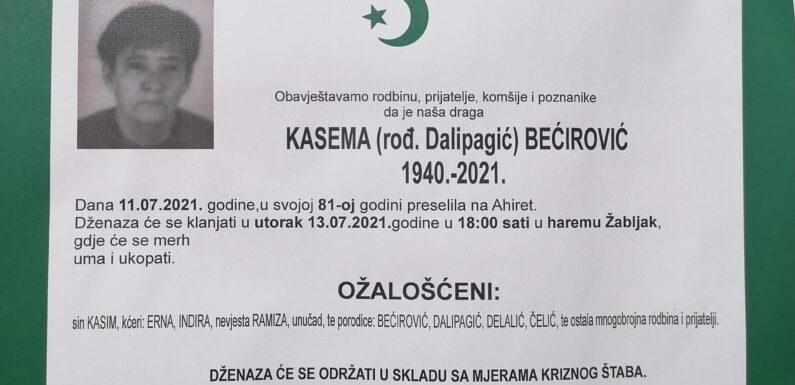 R. Kasema Becirovic, osmrtnica
